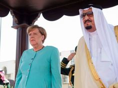 German Chancellor Angela Merkel arrived in Saudi Arabia without a headscarf for talks with the oil-rich kingdom's monarch.