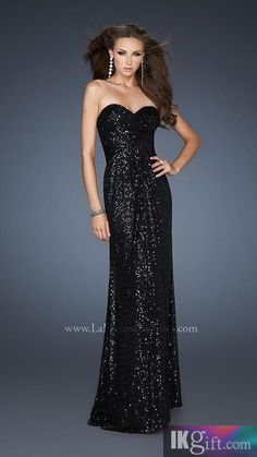 Black Strapless Sparkly Sequin Prom Dress with Slit | dresses ...