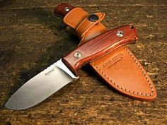 "LionSteel M2 CB Hunter Fixed 3-1/2"" D2 Blade, Cocobolo Wood Handles, Leather Sheath - KnifeCenter - M2CB"