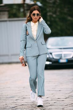 Suit and Trainers | Street Style #StreetStyle