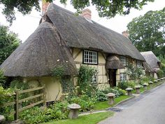 A 500 year old oak frame wattle and daub cottage in Wherwell, England. Fairytale Cottage, Storybook Cottage, Garden Cottage, Cozy Cottage, Tudor Cottage, Cottage House Designs, Cottage Style Homes, Little Cottages, Cabins And Cottages