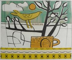 amy chapman - 'the lark's song' - collagraph print over collage