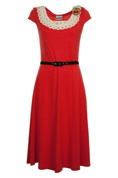 Maiocchi Cherry Pie Dress, cute spot print with a detailed lace neckline. Funky Dresses, Casual Dresses, 40s Dress, Dress Up, Knee Length Dresses, Short Sleeve Dresses, Short Sleeves, Dance Fashion, Fashion Outfits