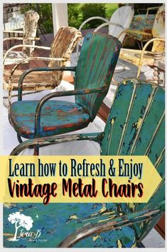 Vintage metal lawn chairs can be refreshed and enjoyed for another generation. Embrace their history and patina with a little sanding and sealing. Expert tips from an experienced vintage seller. Painted Metal Chairs, Vintage Metal Chairs, Metal Outdoor Chairs, Metal Patio Chairs, Funky Chairs, Backyard Chairs, Paint Metal, Modern Chairs, Outdoor Dining