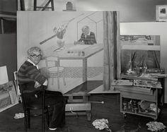 David Hockney - portrait ... with Self Portrait with Blue Guitar
