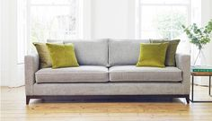 Darwin Grand Sofa in Habitat Cloud with contrast piping in Mystic Dove & accent cushions in Mystic Moss