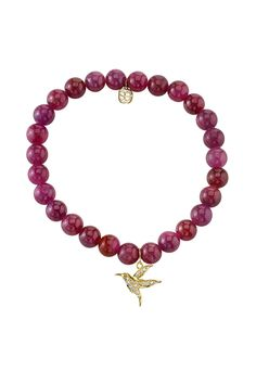 Sydney Evan - .09ctw Diamond Hummingbird on Ruby Bead Bracelet from Osterjewelers.com