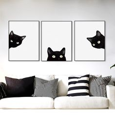 Minimalist Kawaii Black Cats Head Canvas Set - This 3 piece modern art set of a curious black cat peaking from the white canvas background is both - Art Mignon, Canvas Background, Cute Black Cats, Black Cat Art, Cat Room, Cat Wall, Wall Art Pictures, Bathroom Pictures, Print Pictures