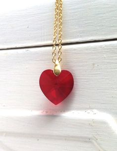 Necklace Red Heart Swarovski in Gold Filled
