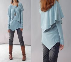 Leaves 3  - asymmetrical layered top (Y1217). $58.00, via Etsy's idea2lifestyle shop.