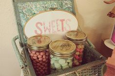 The mini candy bar for Vintage Lalaloopsy Ice Cream Social birthday party. Sewing basket and canning jars from our inventory and available for rent! Styled by Vintage Mingle.