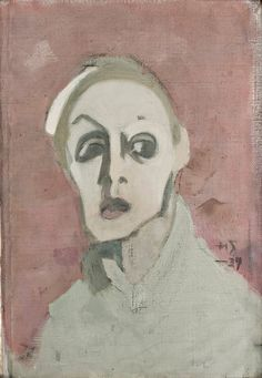 Helene Schjerfbeck (Finnish, 1862-1946), Self portrait with black mouth, 1939, 39.5 x 28 cm, Oil on Canvas, Didrichsens Konstmuseum, Helsinki, Photo: Jussi Pakkala.