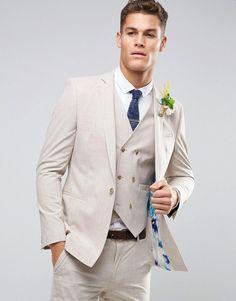 ASOS WEDDING Skinny Suit Jacket in Crosshatch Nep With Floral Print Li