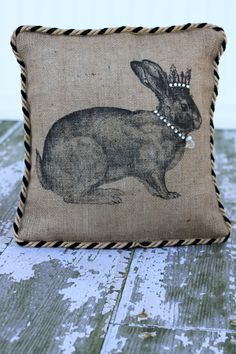 Royal Rabbit Burlap Pillow