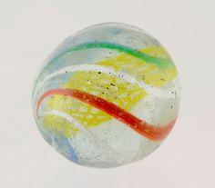 1 inch Vintage Yellow Latticino Blue White Red Green Swirl Hand Made Marble #Latticinio #Swirl