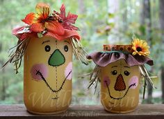 Scarecrow with stitched face Mason Jar Candle | WillowRain - Seasonal on ArtFire