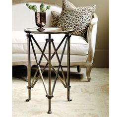 A little on the smaller side but if we don't need lamp on these tables they only need to be big enough for a Glassy Baby and a glass of wine! Olivia Mirrored Side Table