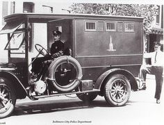 Baltimore City Police, 1920's. My grandfather's old business in Baltimore installed and maintained the leather seats in these!