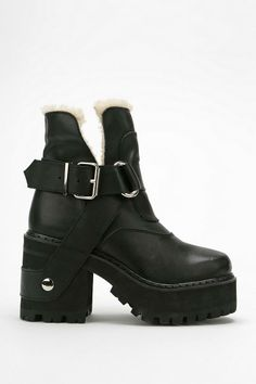 UNIF Faux Sherpa Platform Boot #urbanoutfitters