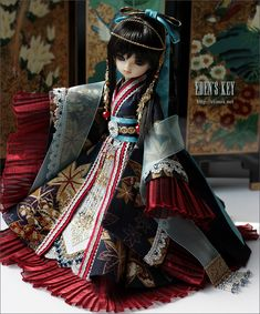Eden's Key bjd oriental style clothes japanese chinese red blue intricate