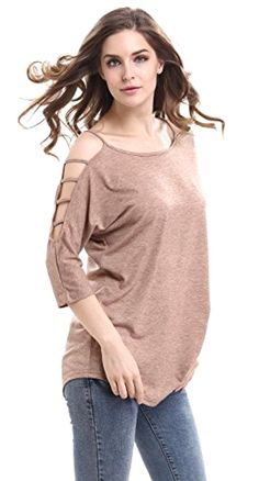 Womens Out Casual Loose 3/4 Sleeve Hollow Solid Blouse Tops us large #Mooncolour #Custom