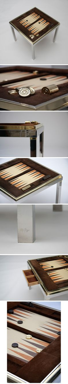 1970s, Backgammon, reversible, Tric trac, table, Willy Rizzo