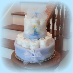 Baby Boy Diaper Cake For Gift Or Shower by simplydiapercakes, $29.99