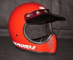 Vtg 1984 Bell Moto Star 3 Motocross Motorcycle Car Racing Helmet 7 1 8 Red Visor…