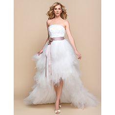 robe de mariage ltbridal une ligne princesse sans bretelles de tulle et de dentelle asymétrique (937262) - CAD $ 78.45
