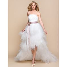 Wedding Dress A Line Asymmetrical Tulle And Lace Strapless Bridal Gown With Sash - USD $ 49.99