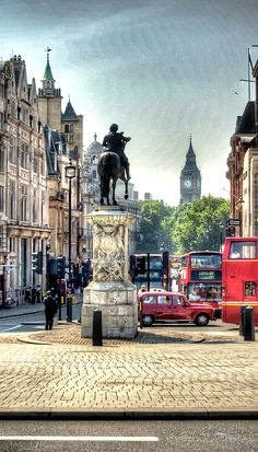 Statue of Charles I, Whitehall, London. Site of the former Eleanor cross at Charing, it's the official centre of London. All road distances are measured to and from here.