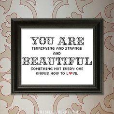 You are Beautiful cross-stitch pattern by RebelleCherry on Etsy