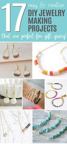 Easy and Creative DIY Jewelry Making Projects Perfect for Gift Giving.' (via Ideal Me) Please see and pin to your broad if you like this. # Easy DIY jewelry 17 Easy and Creative DIY Jewelry Making Projects Perfect for Gift Giving Diy Jewelry Projects, Jewelry Making Tutorials, Jewelry Making Supplies, Jewelry Crafts, Diy Projects, Diy Jewelry Gifts, Diy Jewelry For Friends, Jewelry Party, Hand Made Jewelry Ideas