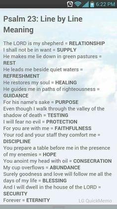 Psalm 23 meaning line by line Bible study Prayer Scriptures, Bible Prayers, Bible Verses, Catholic Prayers Daily, Bible Art, Beautiful Words, Soul Healing, Healing Quotes, Spiritual Quotes