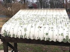 I have an old awning over my back door, and it was in desperate need of a makeover. I didn't want to replace it because it would cost more than I was ready to s… Old Chairs, Vintage Chairs, Vintage Furniture, Diy Awning, Metal Awning, Bar Stool Makeover, Aluminum Awnings, Concrete Stool, Frame Shelf
