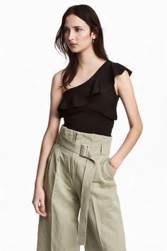 One-shoulder top - Black - Ladies   H&M GB