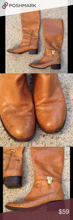 MICHAEL KORS TAN LUGGAGE LEATHER RIDING BOOTS sz 9 Michael Kors sz 9 tan (color: Luggage) tall leather riding boots.  Gold MK logo emblem on side of heel, shown.  Toes have discoloration spots on leather, shown.  I have not tried to clean them.  Sold As Is, and are a final sale. Will ship right away! *CHECK OUT MY ITEMS Michael Kors Shoes Winter & Rain Boots