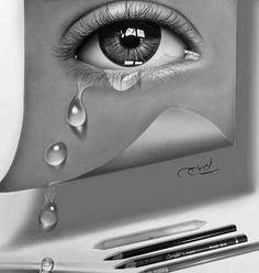 25 Beautiful and Realistic Pencil Drawings by Ayman Fahmy Realistic Pencil Drawings, Dark Art Drawings, Amazing Drawings, Pencil Art Drawings, Cool Drawings, Art Sketches, Tears Art, Eyes Artwork, Sad Art