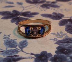 Elegant Vintage 1950s Blue Sapphire & Purple by PinkyAGoGo on Etsy, $165.00