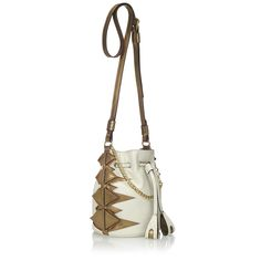 Art Deco meets California cool in this mini bucket bag. The Baby Bombshell is versatile with a removable adjustable cross-body strap for daytime and a shorter gold chain for the evening. MADE IN ITALY.     White and Gold Calf Leather   Logo jacquard lining with interior credit card pocket   Removable and adjustable cross-body strap   Gold plated chain evening strap   Pull closure at center front   Dust Bag included