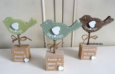 bird wood block Love You Home Friends Heart Ornament Word Shabby chic gift