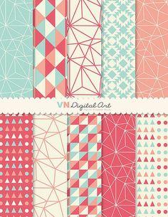 """Papel, descarga instantánea, digital geométrica paquete de papel Digital (8,5 x 11 """") - 10 papeles Digital - 533:"""