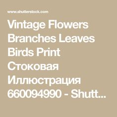 Vintage Flowers Branches Leaves Birds Print Стоковая Иллюстрация 660094990 - Shutterstock