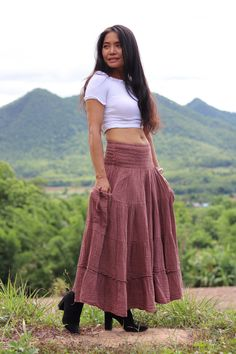 Long Skirt / Long Boho Skirt /  Maxi Skirt / Modest Skirt / Boho Skirt / Color Dusty Rose / Bohemian Skirt/Double Gauze Cotton Skirt/ Modest Skirts, Long Maxi Skirts, Boho Skirts, Wrap Skirts, Bohemian Skirt, Full Length Skirts, Boho Pants, Gauze Fabric, Cotton Skirt
