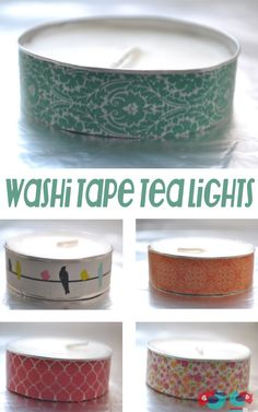 Washi Tape Tea Lights at The Love Nerds http://thelovenerds.com/2013/03/washi-tape-tea-lights.html