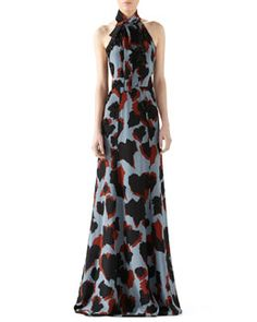 W064J Gucci Leaves Print Embroidered Silk Gown