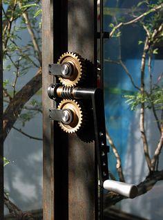 Sliding door mechanism.