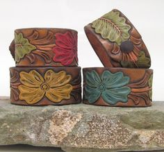Leather Cuff/ Hibiscus stamped, hand-painted