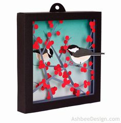 Ashbee Design Silhouette Tutorial - Winterberry and Chickadee Shadow Box Paper Art
