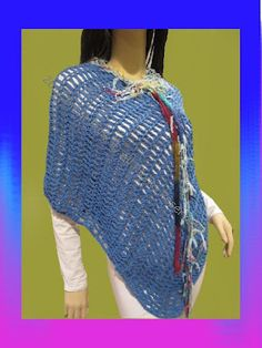 Handcrafted With Love Auctions: Artistic Funk offering Cute Boho Poncho In Deep Blue With Colorful Trim. STARTING BID: $25 (Retail Value: 35)